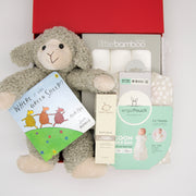 Time to count sheep little one!  Sammy sheep is super cuddly and ready for bedtime snuggles.  Perhaps a book before bed? In this hamper is the classic  'Where's The Green Sheep' and soft bamboo muslins for swaddling.  Pop the sleeping bag on and a spray of lavender and chamomile as the lights go off.  A thoughtful gender neutral gift beautifully presented in our chic, red, signature memory box. $185.00