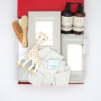 Eco Baby is  a selection of gender neutral, sustainable, eco-safe and organic products for taking very special care of baby. This thoughtful hamper includes a range of bathtime & bedtime essentials and the iconic Sophie giraffe teether. All gifts are beautifully presented in our chic, red, signature memory box. $225.00