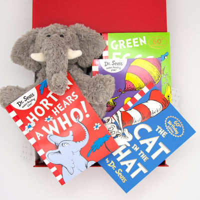 No childhood bookshelf is complete without these timeless classic showcasing the very best of Dr. Seuss, from the life lessons, to the charming rhymes and imaginative illustrations. We've included the very soft & cuddly Jimmy elephant who's always ready for bedtime snuggles and his all time favourite Horton Hears A Who! All items are beautifully presented in our chic, red, signature memory box. $99.00