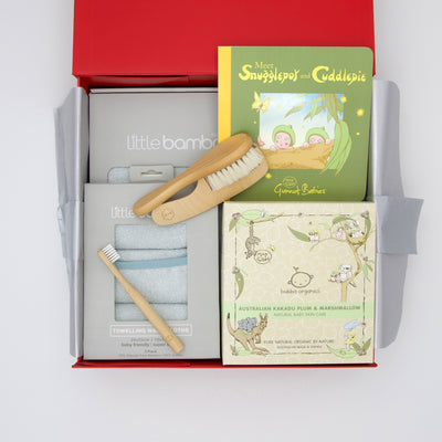 Gumnut baby Hamper - Bath time including hooded towel, washers, wooden brush and comb, toothbrush, organic bath products and snuggle pot and cuddle pie board book.