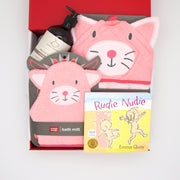 Hello Kitty is a thoughtful and very cute gift.  The towel, bath mitt and sweet scented hair and body wash will delight at bath time, whilst at bedtime the classic book Nudie Rudie a belly laugh for all.    All gifts are beautifully presented in our chic, red, signature memory box. $99.00