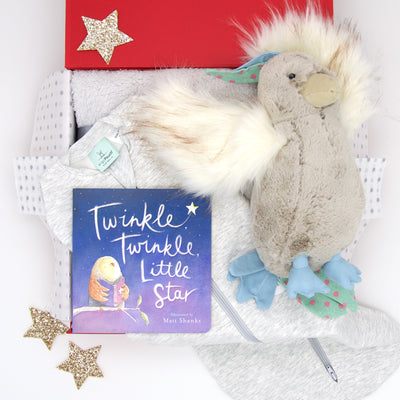 Tucked up in his ergoPouch sleeping swaddle, listening to the sweet melody of Twinkle Twinkle Little Star sung by Mr Parrot, it is good night, sleep tight for little master.  Also include in this lovely bedtime hamper is a super soft Sherpa bassinet blanket and Twinkle Twinkle Little Star board book. All items are beautifully presented in our chic, red, signature memory box. $169.00