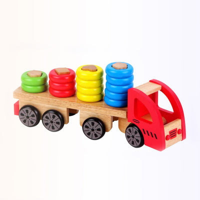 Discoveroo sort and stack truck with bright coloured discs for busy little fingers to pile up high