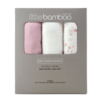 Little Bamboo Muslin Wrap 3pk - Dusty Pink