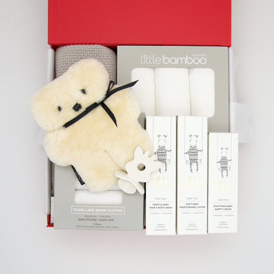 Our Platinum Baby Hamper includes absolutely every new baby essential for bath & bed in stunning whites, with the option of a pink or blue accent. The perfect group offering for a baby shower, newborn present or when the gender of baby is going to be a surprise! These gifts are beautifully presented in 2 chic, red, signature memory boxes. $395.00