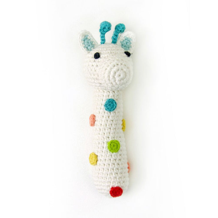 Weegoamigo soft white crochet hand rattle with spots of colour ideal for new baby gift