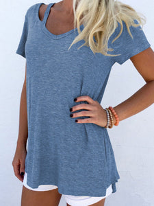 V Neck  Cutout  Plain Short Sleeve T-Shirts