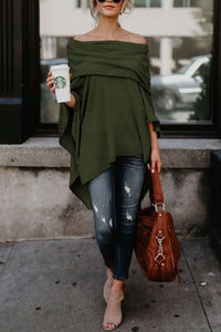 Off Shoulder  Asymmetric Hem  Plain Long Sleeve T-Shirts