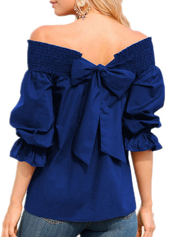 Spring Summer  Polyester  Women  Open Shoulder  Bowknot  Plain  Three-Quarter Sleeve Blouses