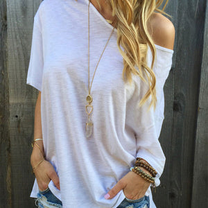 One Shoulder Short Sleeves T-Shirts