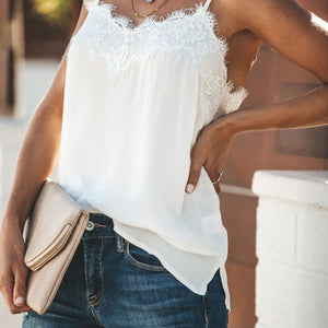 Lace chiffon splicing  Camisole top