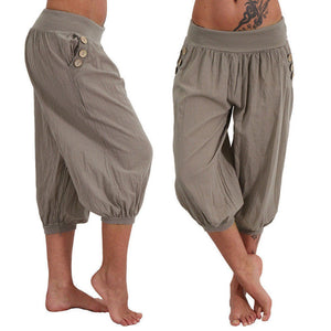 Cotton/Line Elastic Waist Casual Pants