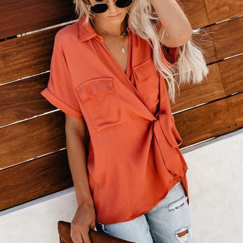 Fashion Solid Color V-Neck Short Sleeves T-Shirt