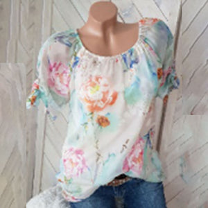 Comfortable Round Neck Printed Blouse