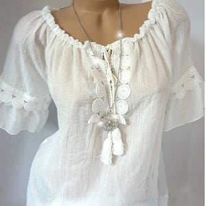 Plain V-Neck Short Sleeve Blouse