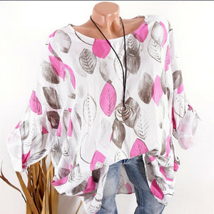 Casual Round Neck Long Sleeve Leaf Printed Shirts