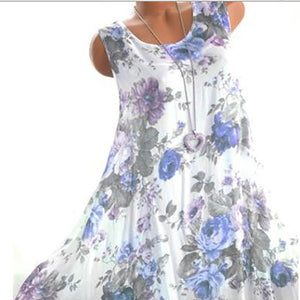 Casual Round Neck Sleeveless Floral Pattern Dress