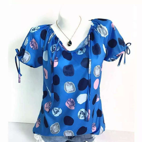 V Neck  Drawstring  Dot Short Sleeve T-Shirts