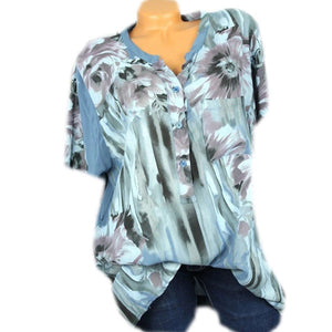 Casual V Collar Print Short Sleeve Shirt