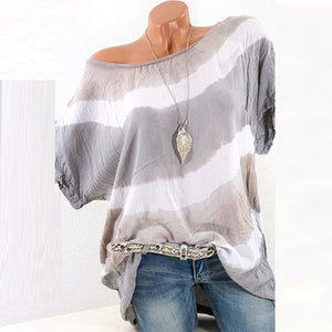 Horizontal Stripes Round Neck Short Sleeve T-Shirts