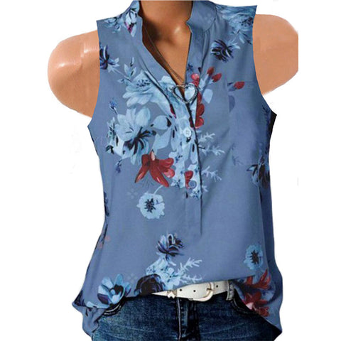 Sleeveless V Neck Flower Printed Shirt