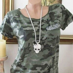 Camouflage Round Neck Short Sleeve T-Shirt