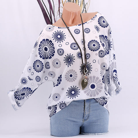 Round Neck Printed Fashion Batwing Sleeve Casual T-shirts