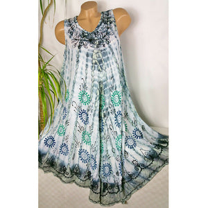 Fashion Round Neck Tie dyeing Sleeveless Printed Dresses