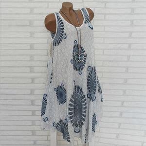 Fashion Sleeveless Printed Round Neck Casual Dress