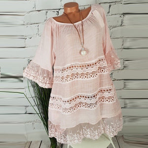 Elegant Loose Hollow Out Lace Solid Soft Casual Dress