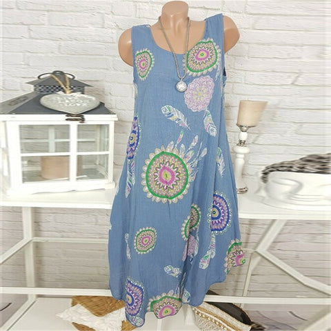Fashion Sleeveless Casual Round Neck Printed Tank Top