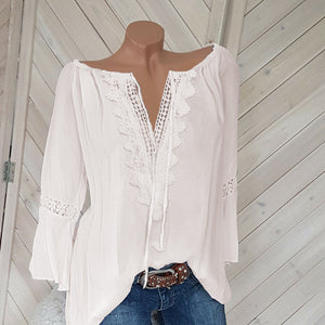 Fashion Lace Stitching V-neck Solid Casual Blouse