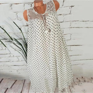 Fashion Round Neck Polka Dot Lace Casual Dress