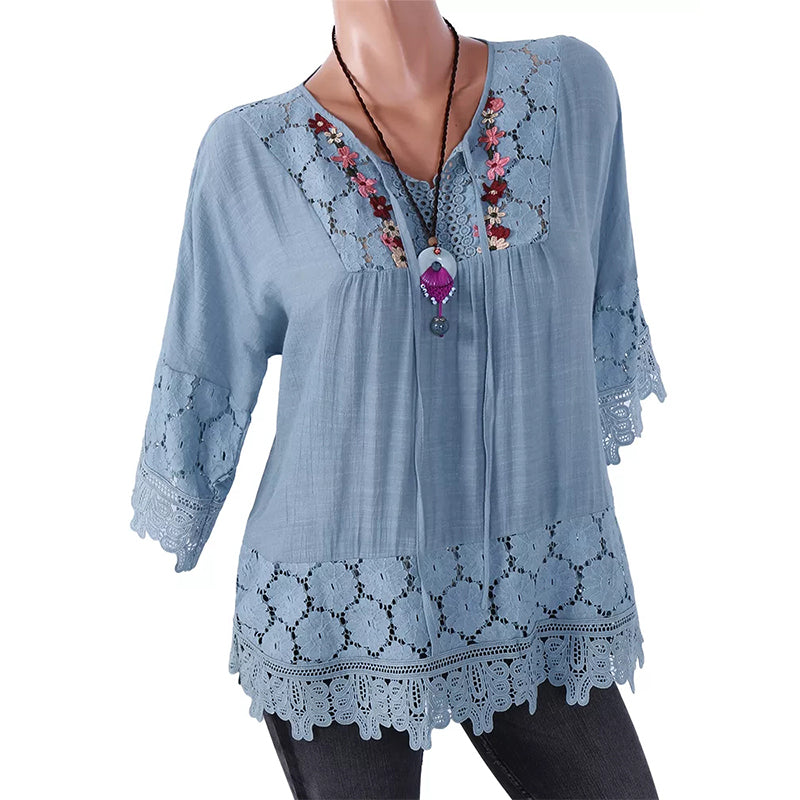 Round Neck Lace Loose Stitching Solid Cotton Linen Casual Blouse