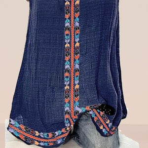 Bohemian Boat Neck Embroidery Tank