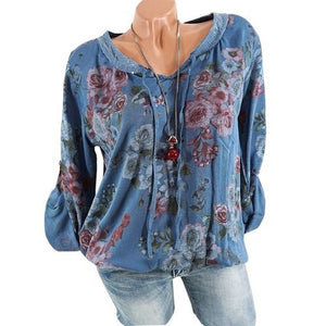 Fashion Floral Long Sleeve V-neck Casual Blouse