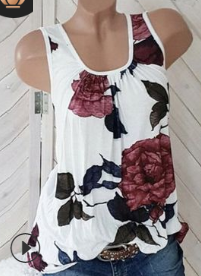 Casual Round Neck Printed Tank Top