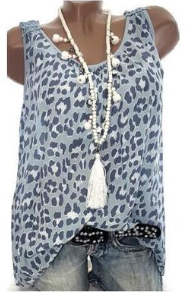 Casual Leopard Sleeveless Splicing Printed Tank Top