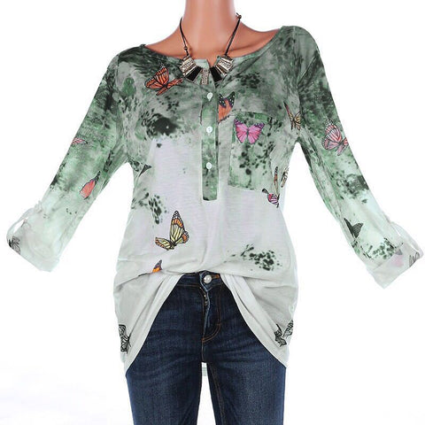 Casual V Neck Long Sleeve Floral Printed Blouses
