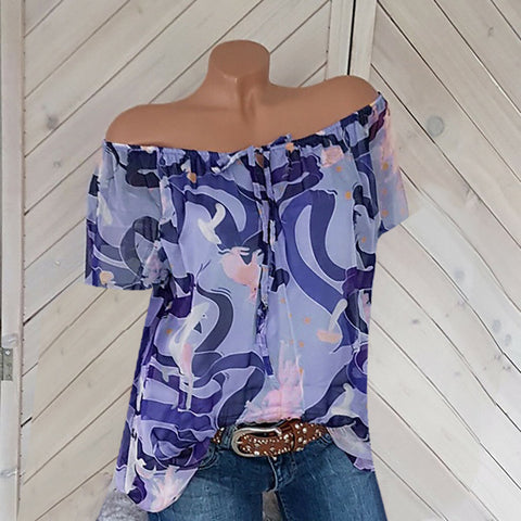 Fashion Off The Shoulder Short Sleeve Printed T-Shirts