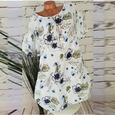 Casual Round Neck Floral Dresses