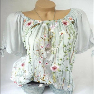 Loose Short Sleeve Cuffs Bow Mesh Embroidered T-Shirts