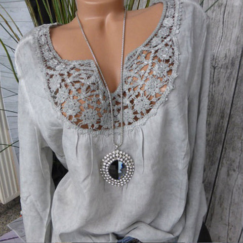 V-neck Solid Color Lace Stitching Top