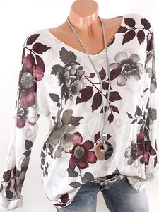 Casual Boat Neck Long Sleeve Floral Printed Blouses