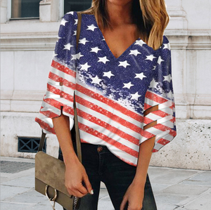 V Neck Star Flag Patchwork Mesh Sleeve Blouse