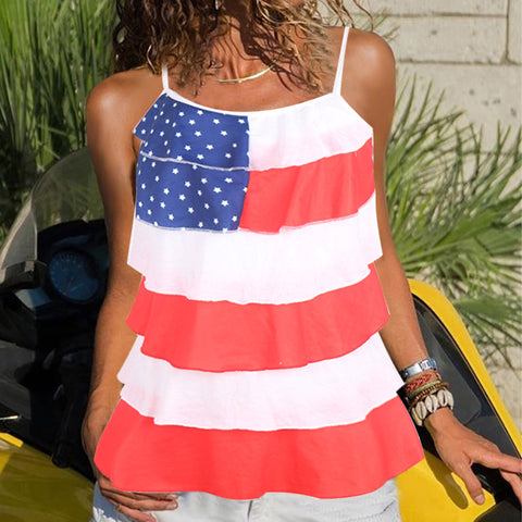 Sexy strapless shoulder sling flouncing flag printed tank top