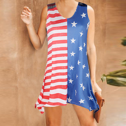 Sexy round neck sleeveless flag printed short dresses