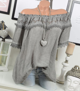 Sexy solid color off the shoulder lace stitching blouses