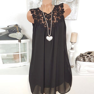 Solid color lace stitching sleeveless chiffon T-shirts