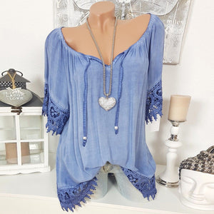Off Shoulder Lace Stitching Sexy T-shirt